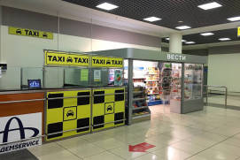 An official taxi order desk in Sheremetyevo