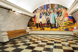 An enamel painting at Park Pobedy metro station. shutterstock.com