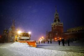 Snow removal at Red Square. Shutterstock.com.