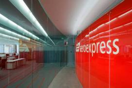 A station where an aeroexpress train arrives
