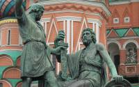 Monument to Minin (left) and Pozharsky (right). View from Red Square