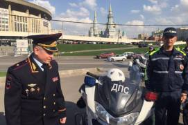 Motorcycle patrol of Moscow traffic safety police