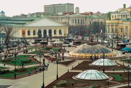 Views of the Manezhnaya Square (glass domes are part of Okhotny Ryad, an underground shopping mall)