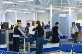 Security check of hand luggage and suitcases