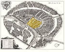 Kitay-Gorod (highlighted in yellow). Matthäus Mirian's Moscow Map. 1638