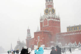 Red Square in snow. Shutterstock.com