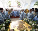 Patriarch holding a service in honour of the Hodegetria of Smolensk
