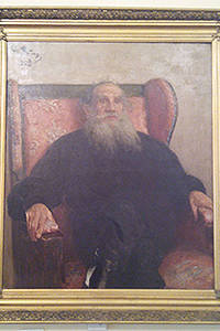 I.e. Repin. Portrait of Leo Tolstoy in the pink Chair. 1909