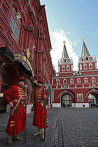 Modern view of the resurrection gate by the red square