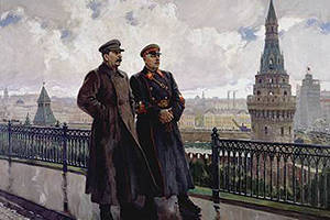 I.v. Stalin and K.e. Voroshilov in the Kremlin. A. Gerasimov, 1938 g.