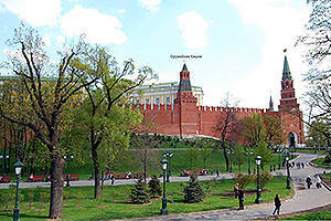The remains of earthen bastions at the foot of the Tower of the Kremlin Armory