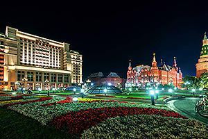 Manezhnaya square at night
