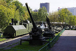 Exhibition of military equipment in the courtyard of the museum