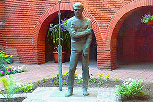 Bronze monument to Vladimir Vysotsky in the courtyard of the Taganka Theater